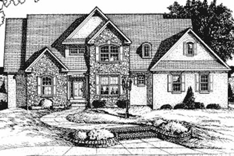 European Style House Plan - 4 Beds 3.5 Baths 3278 Sq/Ft Plan #20-1105 Exterior - Front Elevation