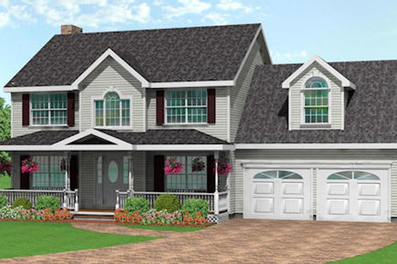 Traditional Style House Plan - 3 Beds 2.5 Baths 1875 Sq/Ft Plan #75-160 Exterior - Front Elevation