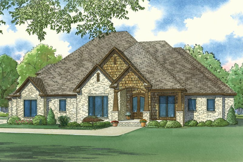 European Style House Plan - 4 Beds 4.5 Baths 3190 Sq/Ft Plan #923-17 Exterior - Front Elevation