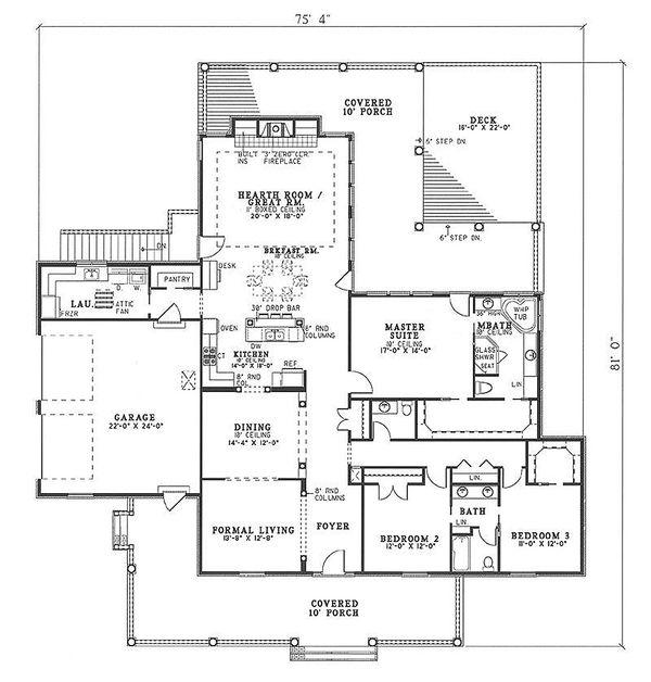 Traditional Floor Plan - Main Floor Plan Plan #17-168
