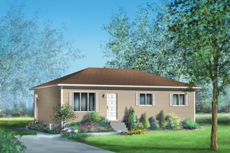 Country Style House Plan - 3 Beds 1 Baths 912 Sq/Ft Plan #25-4661 Exterior - Front Elevation