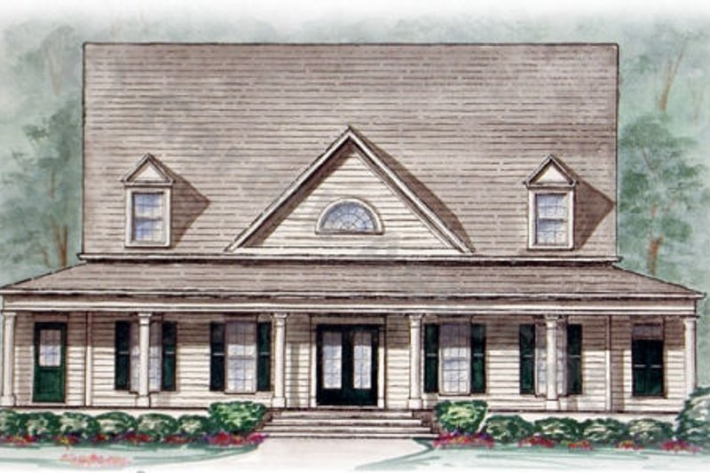 Country Style House Plan - 5 Beds 3.5 Baths 2828 Sq/Ft Plan #54-116 Exterior - Front Elevation