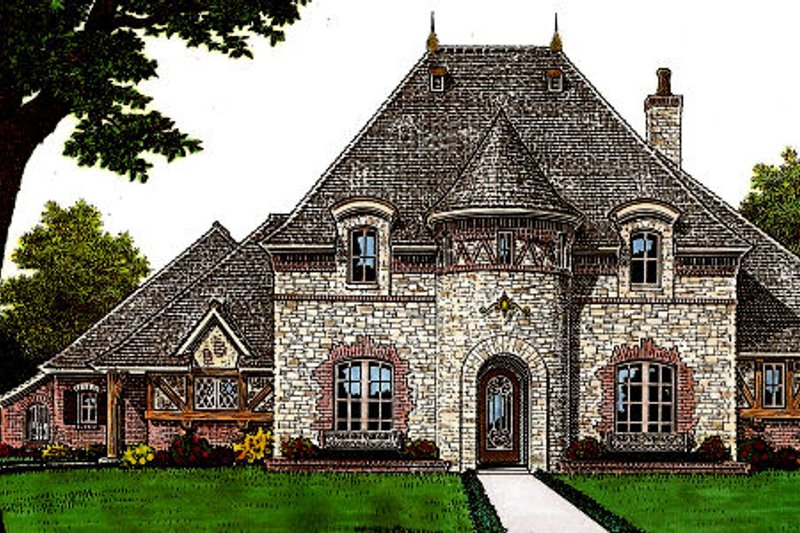European Style House Plan - 4 Beds 3.5 Baths 3646 Sq/Ft Plan #310-651 Exterior - Front Elevation
