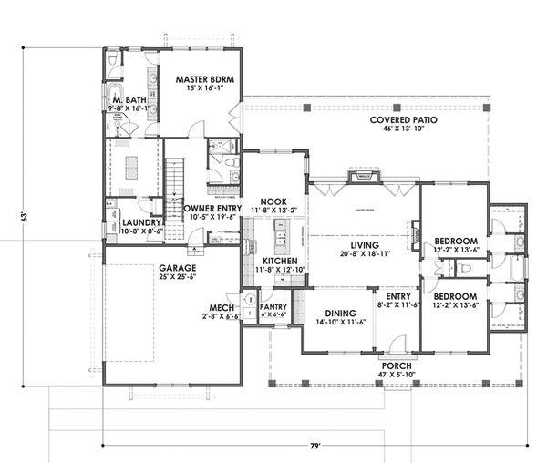 Farmhouse Floor Plan - Main Floor Plan Plan #1069-4