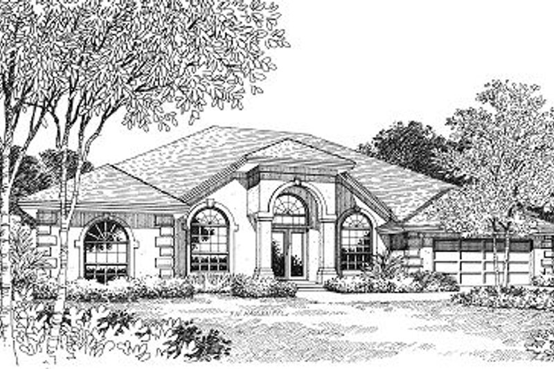 Mediterranean Style House Plan - 4 Beds 3 Baths 2221 Sq/Ft Plan #417-213 Exterior - Front Elevation