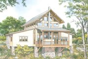 Contemporary Style House Plan - 2 Beds 2.5 Baths 2115 Sq/Ft Plan #140-161 Exterior - Rear Elevation