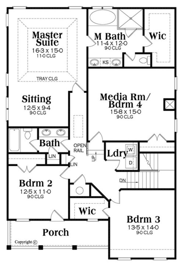 Southern Floor Plan - Upper Floor Plan Plan #419-315