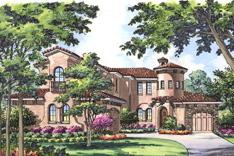 European Style House Plan - 4 Beds 3.5 Baths 3589 Sq/Ft Plan #417-399 Exterior - Front Elevation