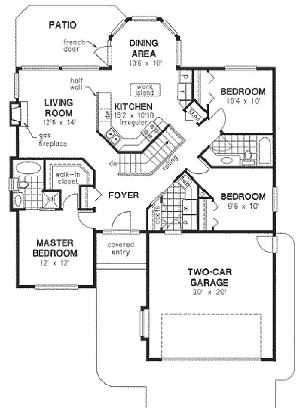 Traditional Style House Plan - 3 Beds 2 Baths 1325 Sq/Ft Plan #18-1028 Floor Plan - Main Floor Plan