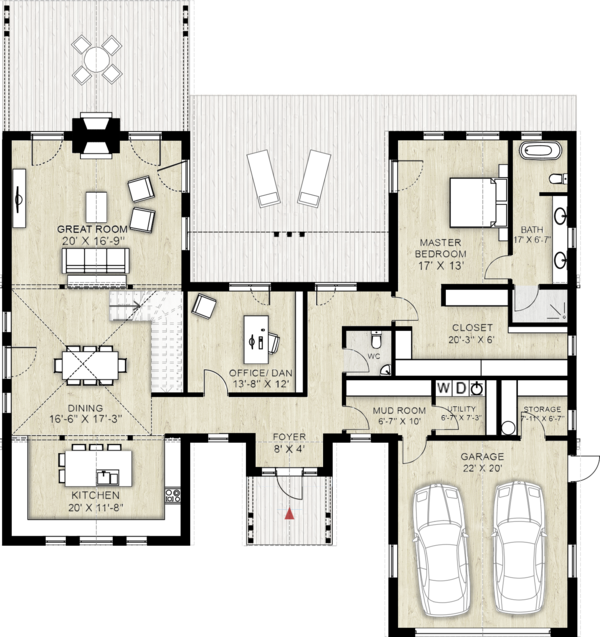 Farmhouse Floor Plan - Main Floor Plan Plan #924-5