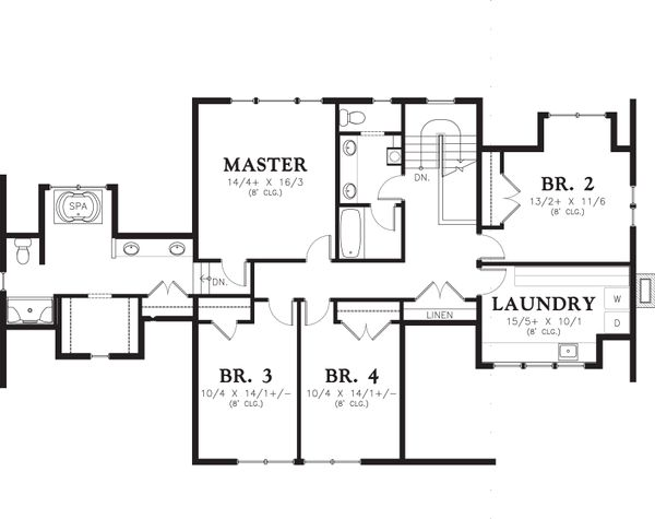 Traditional Floor Plan - Upper Floor Plan Plan #48-564