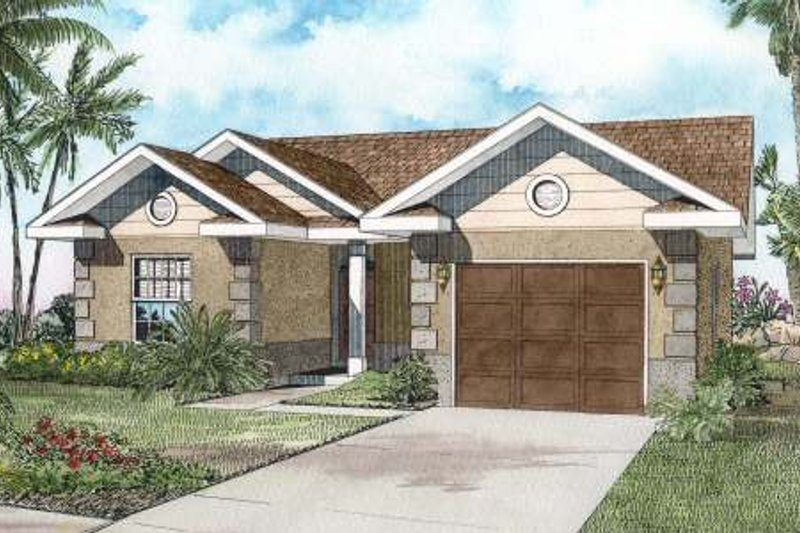 Mediterranean Style House Plan - 3 Beds 2 Baths 1382 Sq/Ft Plan #420-126 Exterior - Front Elevation