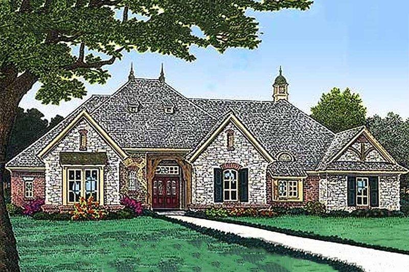 European Exterior - Front Elevation Plan #310-968 - Houseplans.com