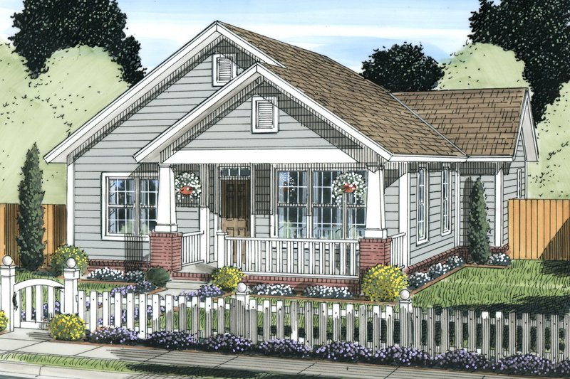 Cottage Exterior - Front Elevation Plan #513-2084