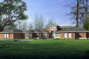Ranch Style House Plan - 5 Beds 3 Baths 3382 Sq/Ft Plan #1-821 Exterior - Front Elevation