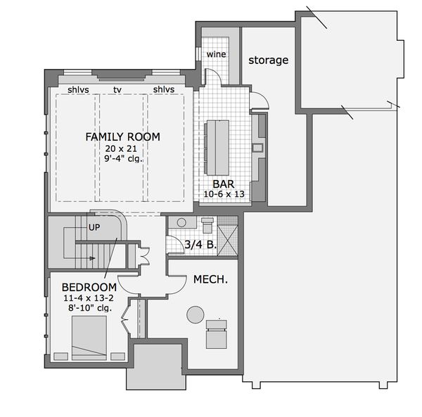 Craftsman Floor Plan - Lower Floor Plan Plan #51-565