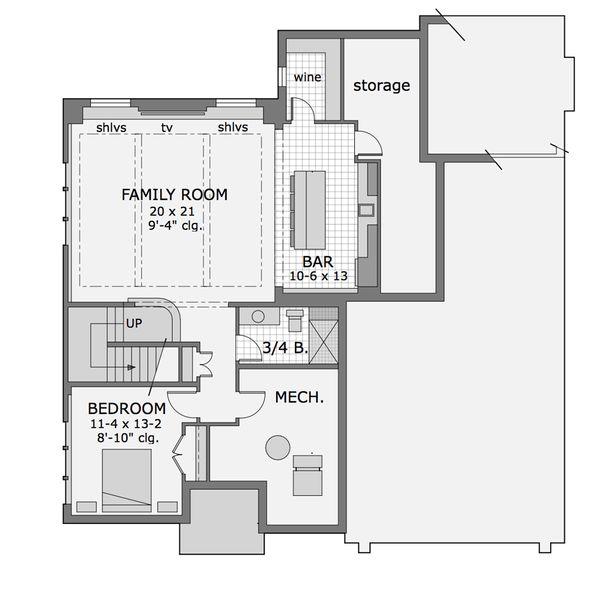 Craftsman Floor Plan - Lower Floor Plan Plan #51-565