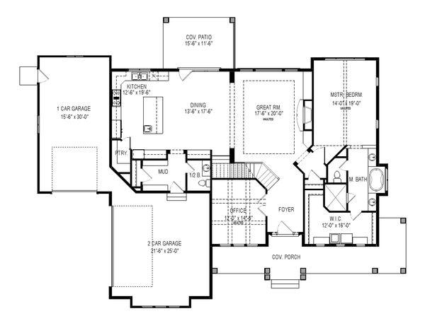 Craftsman Floor Plan - Main Floor Plan Plan #920-6