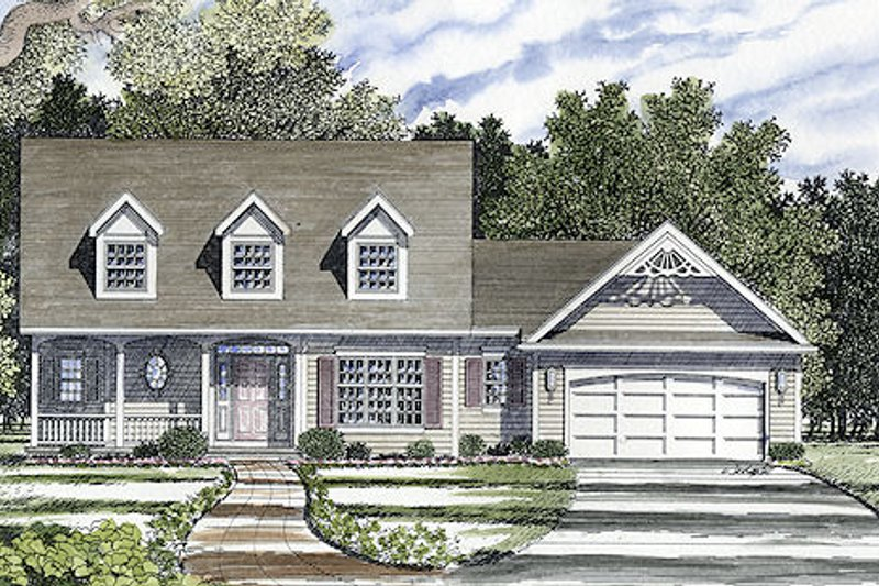 Country Style House Plan - 3 Beds 2.5 Baths 1711 Sq/Ft Plan #316-122 Exterior - Front Elevation