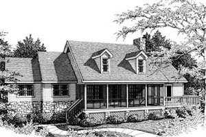 Country Exterior - Front Elevation Plan #10-109
