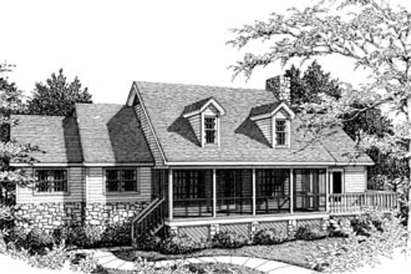 Country Style House Plan - 3 Beds 2 Baths 1472 Sq/Ft Plan #10-109 Exterior - Front Elevation