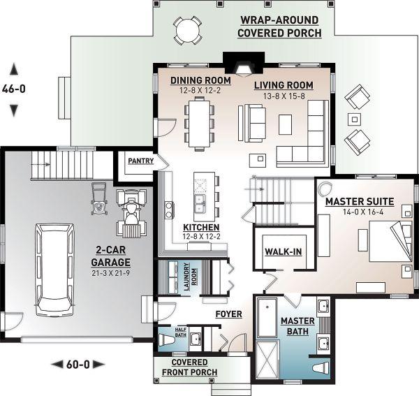 Dream House Plan - Craftsman Floor Plan - Main Floor Plan #23-2709