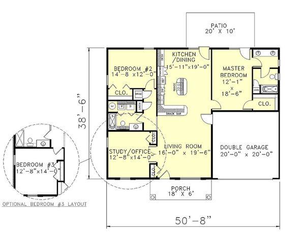 Southern Floor Plan - Main Floor Plan #44-136