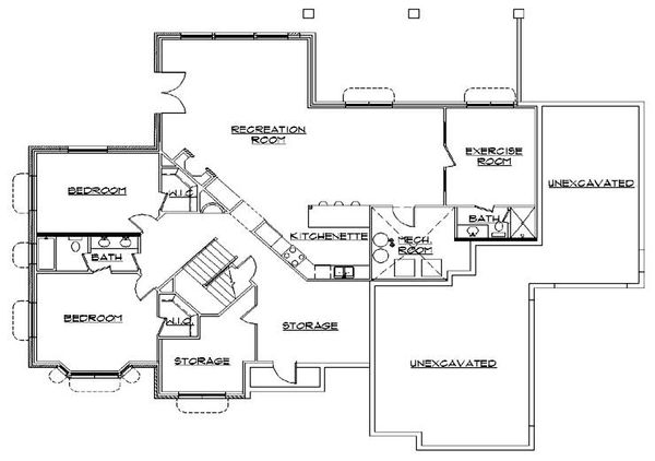 Traditional Floor Plan - Lower Floor Plan Plan #5-286
