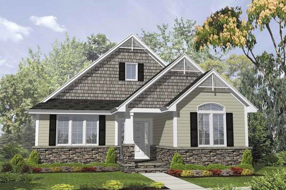 Bungalow Exterior - Front Elevation Plan #50-126