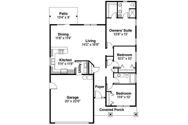 Craftsman Floor Plan - Main Floor Plan Plan #124-693