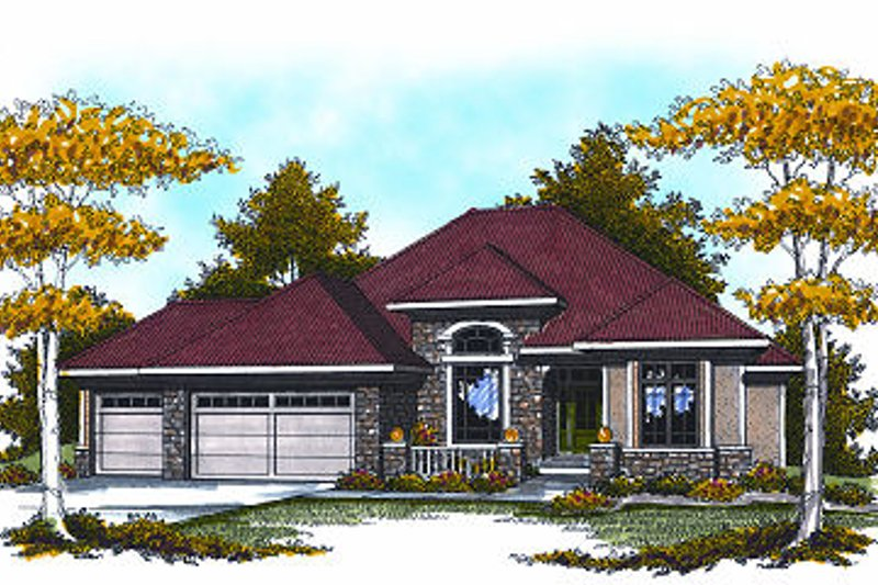 European Exterior - Front Elevation Plan #70-872