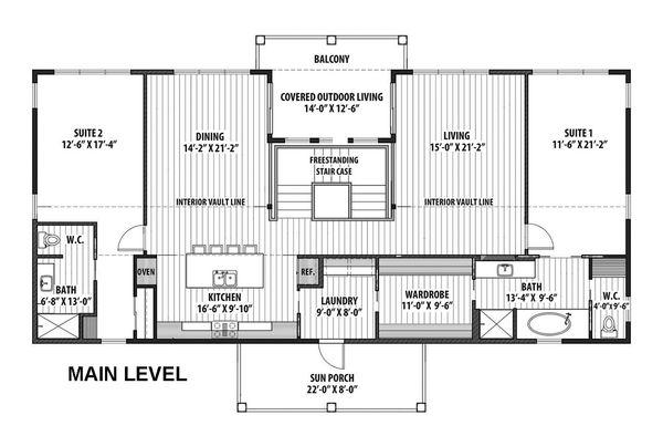 Contemporary Floor Plan - Main Floor Plan Plan #569-37
