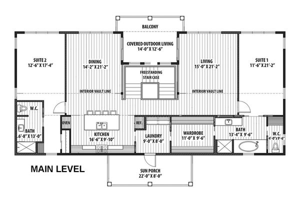 Contemporary Floor Plan - Main Floor Plan Plan #569-37