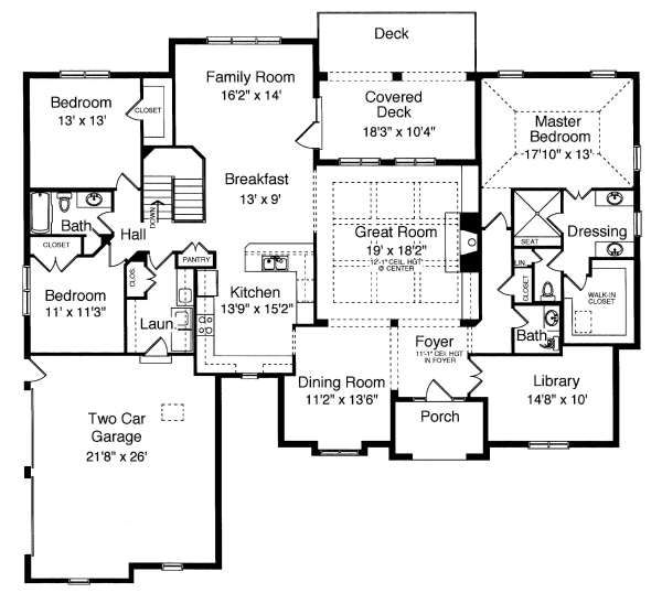 Traditional Floor Plan - Main Floor Plan Plan #46-405