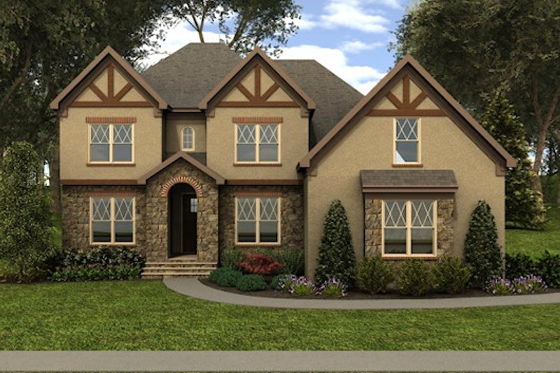 Tudor Style House Plan - 5 Beds 4 Baths 3643 Sq/Ft Plan #413-887 Exterior - Front Elevation
