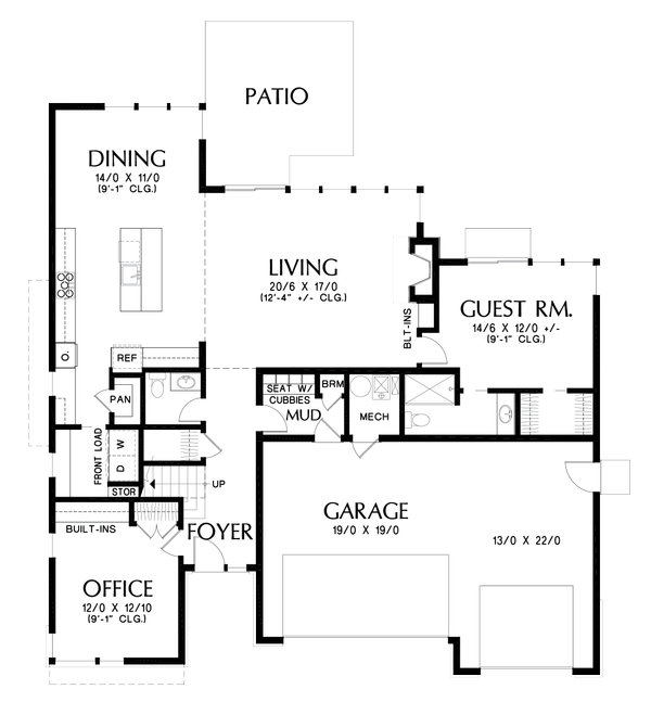 Contemporary Floor Plan - Main Floor Plan Plan #48-1005