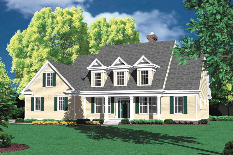 Colonial Style House Plan - 4 Beds 2.5 Baths 2561 Sq/Ft Plan #48-106 Exterior - Front Elevation