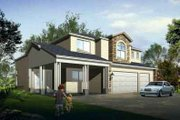 Adobe / Southwestern Style House Plan - 4 Beds 3 Baths 3168 Sq/Ft Plan #1-1124 Exterior - Front Elevation