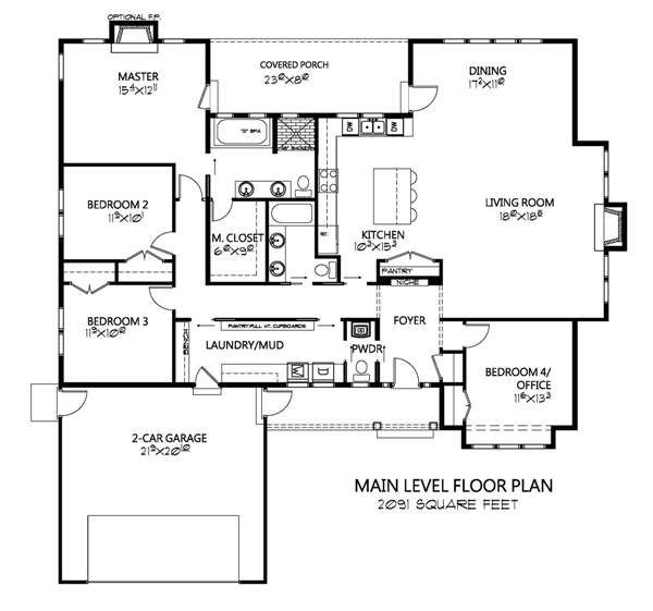 Craftsman Floor Plan - Main Floor Plan Plan #133-109