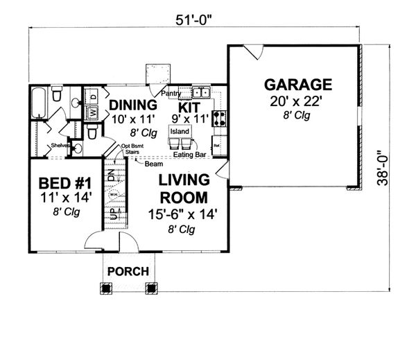 Country Floor Plan - Main Floor Plan Plan #513-2058