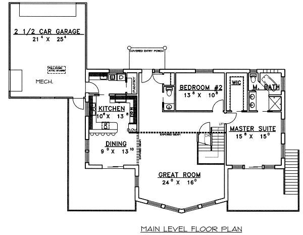 Contemporary Floor Plan - Main Floor Plan Plan #117-519