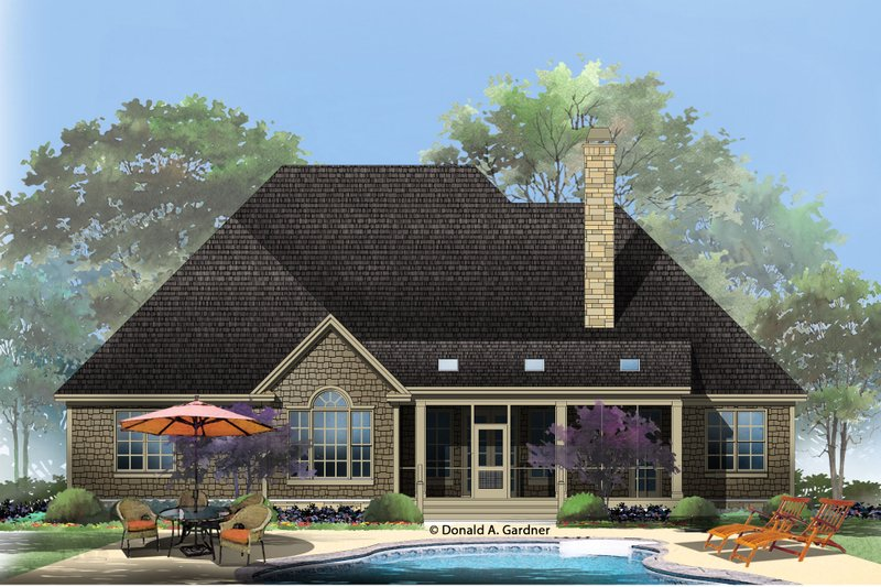 European Exterior - Rear Elevation Plan #929-27 - Houseplans.com