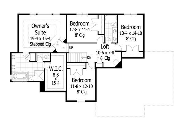 Traditional Floor Plan - Upper Floor Plan Plan #51-444