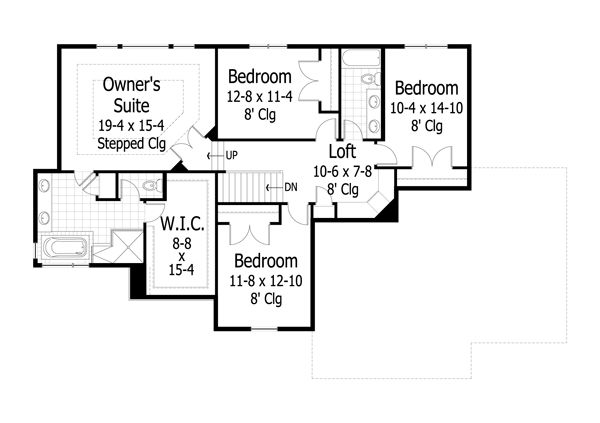 Traditional Floor Plan - Upper Floor Plan Plan #51-444