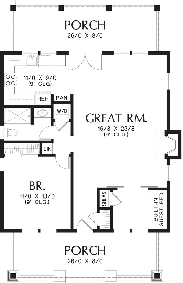Bungalow Floor Plan - Main Floor Plan #48-666