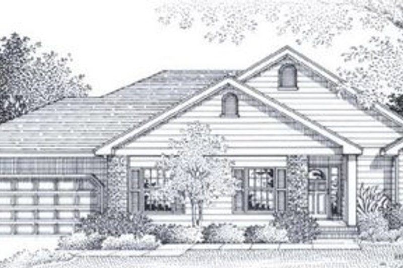 Traditional Style House Plan - 3 Beds 2 Baths 1607 Sq/Ft Plan #53-145 Exterior - Front Elevation