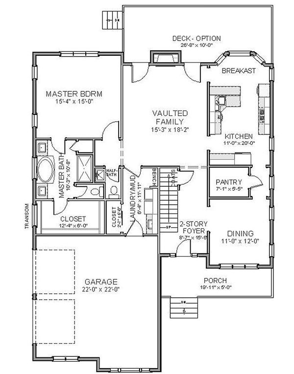 Traditional Floor Plan - Main Floor Plan Plan #898-17