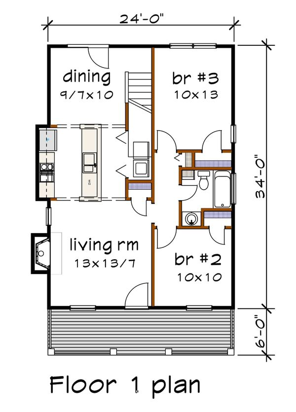 House Design - Cottage Floor Plan - Main Floor Plan #79-141