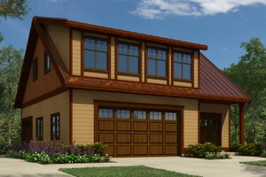Cottage style garage design with living space, front elevation