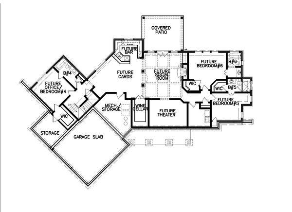 Farmhouse Floor Plan - Lower Floor Plan Plan #54-384